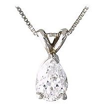 1/5 Carat Pear Diamond Solitaire Pendant - 14K White Gold (Pendants, Apples of Gold)