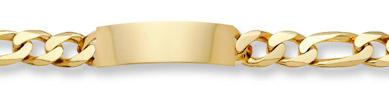 Large Figaro Link ID Bracelet - 14K Gold