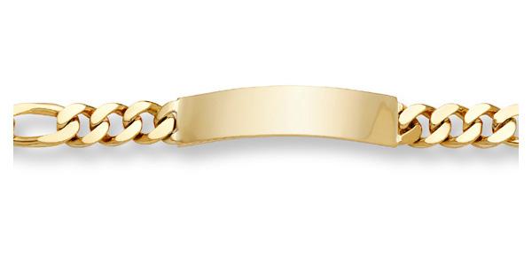 Figaro Link ID Bracelet - 14K Gold