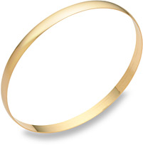 14K Gold Plain Bangle Bracelet (5mm)