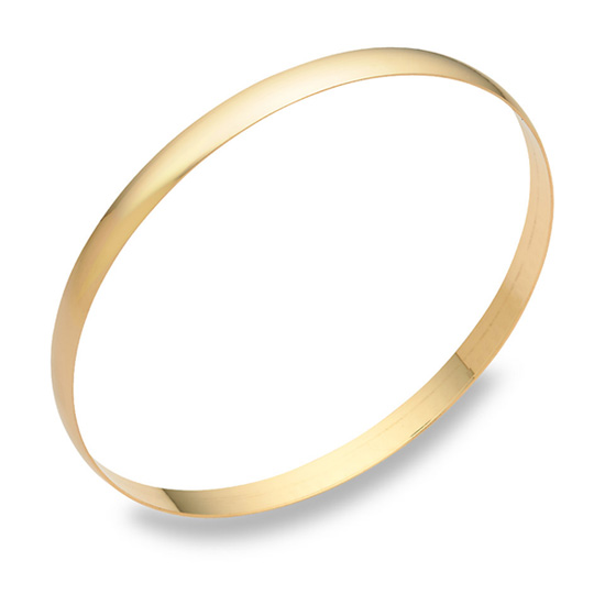 14K Gold Plain Bangle Bracelet (5mm), 7.5 Inches