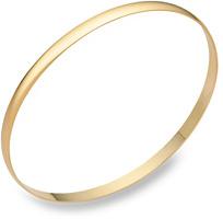 14K Gold Plain Bangle Bracelet (4mm), 7.5 Inches