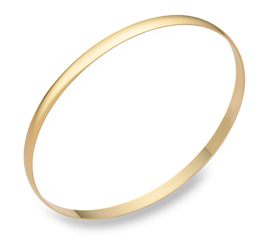 14K Gold Plain Bangle Bracelet (4mm), 7.5 Inches