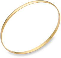 14K Gold Plain Bangle Bracelet (3mm), 7.5 Inches