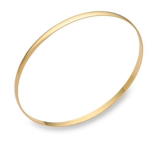 14K Gold Plain Bangle Bracelet (3mm)