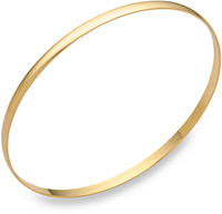 14K Gold Plain Bangle Bracelet (2mm), 7.5 Inches