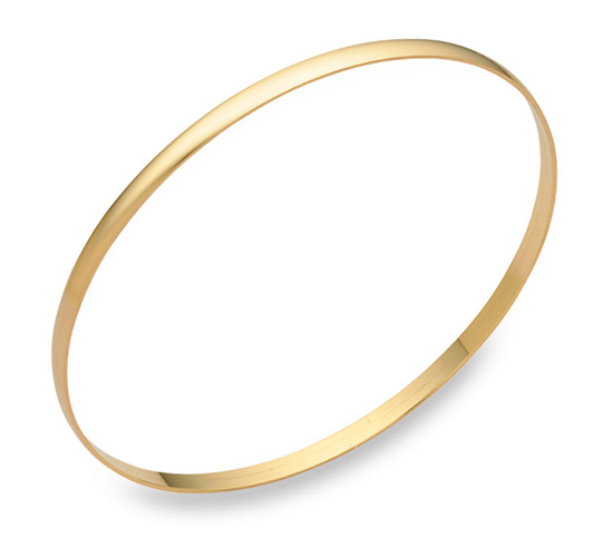 Buy 14K Gold Plain Bangle Bracelet (2mm)