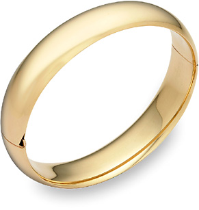 14K Gold Hinged Plain Bangle Bracelet (14mm)