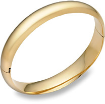 14K Gold Hinged Plain Bangle Bracelet (7/16