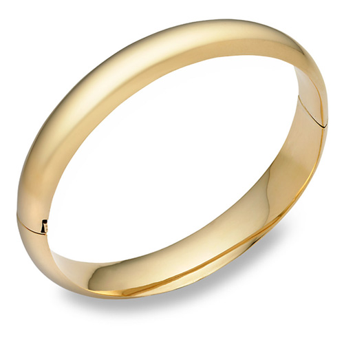 "14k Gold hinged plain bangle bracelet (7/16"")"