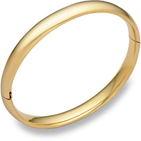 14K Gold Hinged Plain Bangle Bracelet (5/16