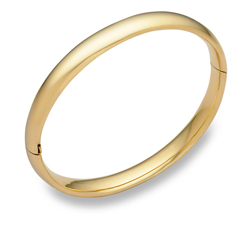 14K Gold Hinged Plain Bangle Bracelet (8mm)