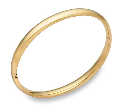 14K Gold Hinged Plain Bangle Bracelet (6mm)