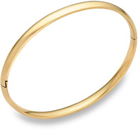 14K Gold Plain Hinged Bangle Bracelet (3/16