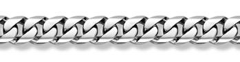 14K White Gold Curb Bracelet - 19mm