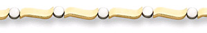 14K Two-Tone Wave Design Gold Bracelet