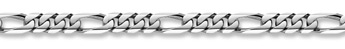 14K White Gold Figaro Bracelet - 9mm