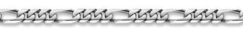 14K White Gold Figaro Bracelet - 9mm