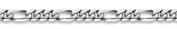 14K White Gold Figaro Bracelet - 10mm