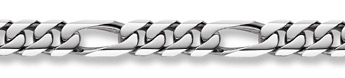 14K White Gold Figaro Bracelet - 16mm