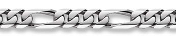 14K White Gold Figaro Bracelet - 18mm