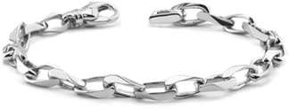 Men's 14K White Gold Angular Link Bracelet