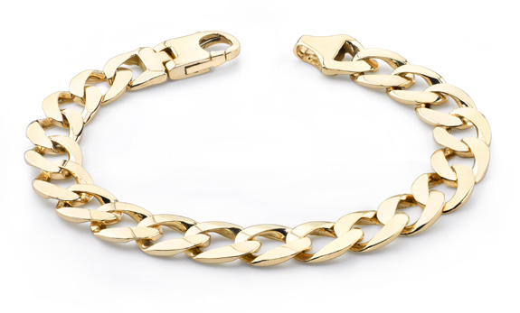 men's gold curb link bracelet