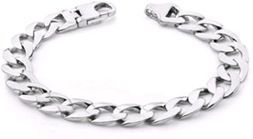 Men's 14K White Gold Curb Link Bracelet