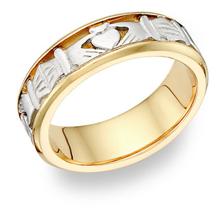 Platinum and 18K Gold Celtic Claddagh Wedding Band