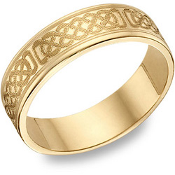 14K Gold Engraved Celtic Wedding Band (Earrings, Apples of Gold)