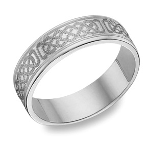 Buy 14K White Gold Engraved Celtic Wedding Band
