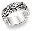18K White Gold Celtic Weave Wedding Band Ring