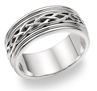 14K White Gold Celtic Weave Wedding Band