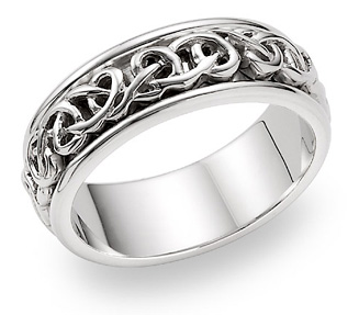 Bowen 18K White Gold Celtic Wedding Band