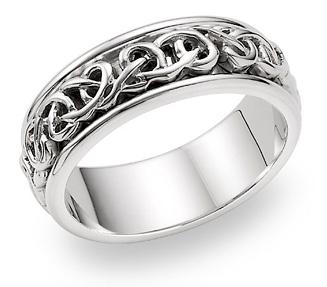 Bowen Celtic Wedding Band - 14K White Gold