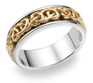18K Two-Tone Gold Celtic Wedding Band Ring