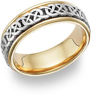 Caer 18K Two-Tone Gold Celtic Wedding Band Ring