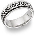 Caer Celtic Knot Wedding Band Ring, 14K White Gold
