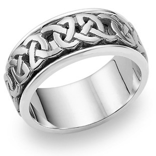 Caedmon Celtic Wedding Band, 14K White Gold