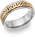 Caer Celtic Knot Wedding Band, 14K Two-Tone Gold