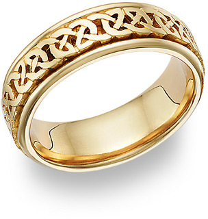 Caer Celtic Knot Wedding Band Ring, 14K Gold