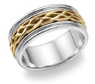 18K Two-Tone Gold Celtic Weave Wedding Band