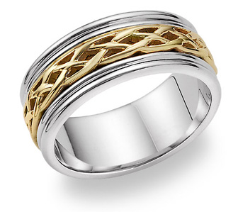 Celtic Knot Weave Wedding Band Ring - 14K Two-Tone Gold