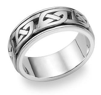 Kendrick 18K White Gold Celtic Wedding Band Ring