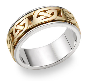 Kendrick Celtic Wedding Band, 14K Two-Tone Gold