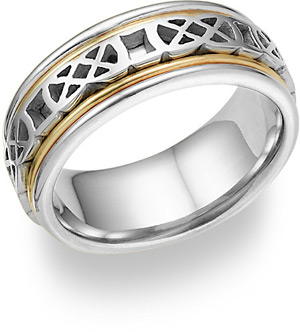 Celtic Knot Wedding Band Ring - 14K Two-Tone Gold