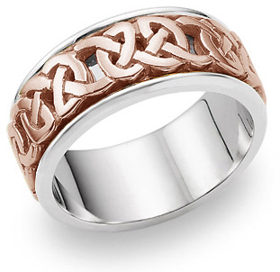 Caedmon 18K Rose Gold Celtic Wedding Band Ring