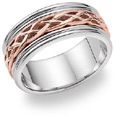 14K White & Rose Gold Celtic Wedding Band