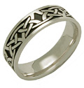 Celdwin Antiqued Celtic Knot Wedding Band, 14K White Gold