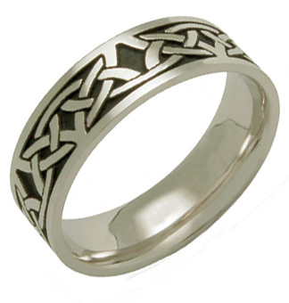 Buy Celdwin Antiqued Celtic Knot Wedding Band, 14K White Gold